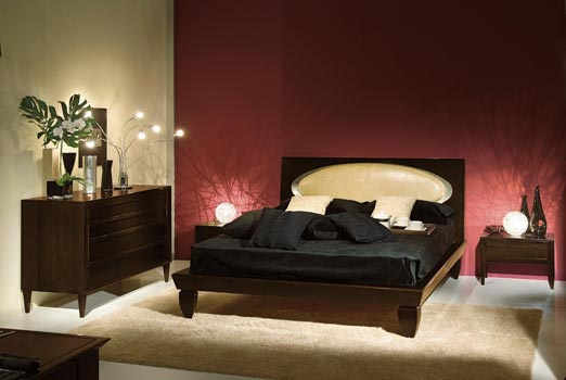 Bed with high headboard leather upholstered GA140, Angela Bizzarri
