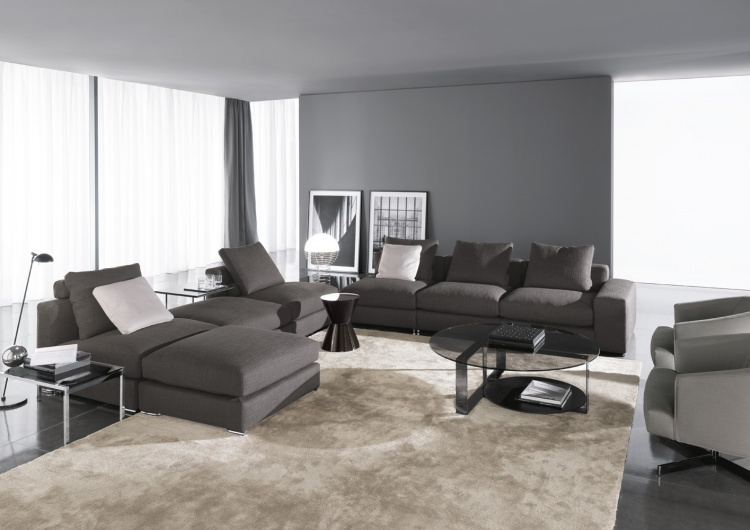 Modular sofa for relaxing Highback Jagger, Minotti